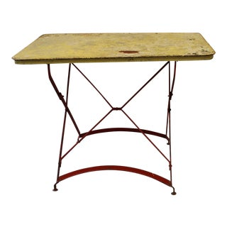 Red & Yellow Painted Metal Folding Bistro Table