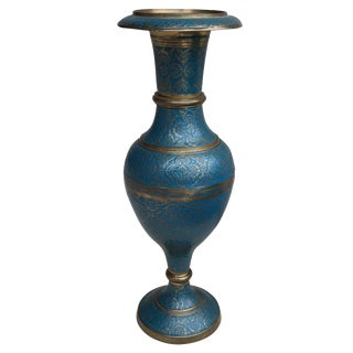 Vintage Bohemian Teal Enameled Brass Vase