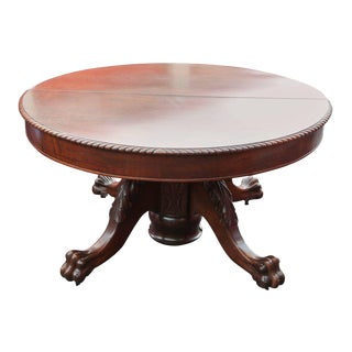 Antique Mahogany American Round Dining Table