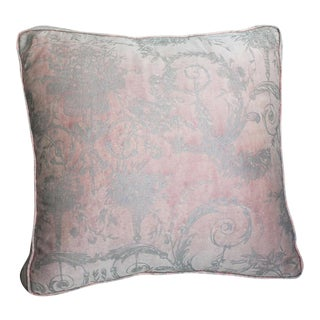 Vintage Blush Pink & Silver Fortuny Pillow