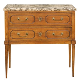 French Marble Top Commode with Two Drawers in Oak