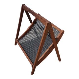 Mid-Century Danish Walnut & Perforated Steel Magazine Rack