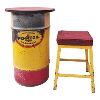 Gas Barrel Table & Metal Stool