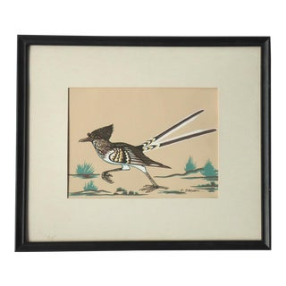 Roadrunner Vintage Native American Print by Archie Blackowl