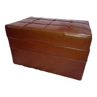 Vintage Brown Vinyl Tufted Storage Ottoman