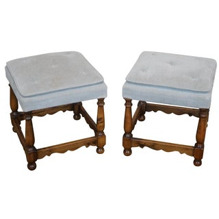 Walnut Colonial-Style Ottomans - A Pair