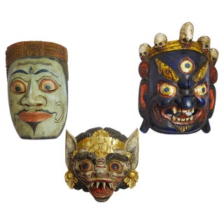 Vintage Hand-Carved & Painted Masks - Set of 3