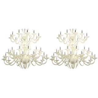 Monumental White Murano Glass Chandelier