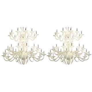Monumental White Murano Glass Chandelier