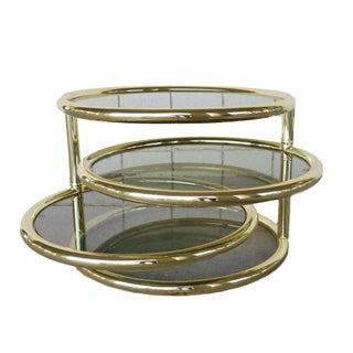 Milo Baughman Style Swivel Side Table