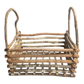 Vintage Mid-Century Frontier Style Wooden Basket