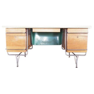 1950s Midcentury Heywood Wakefield Trimline Chrome Desk
