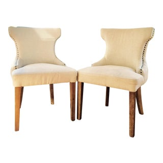 Tufted Canvas Dining Room Chairs - A Pair