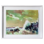 Image of Mid-Century Rocky Coast Watercolor Painting