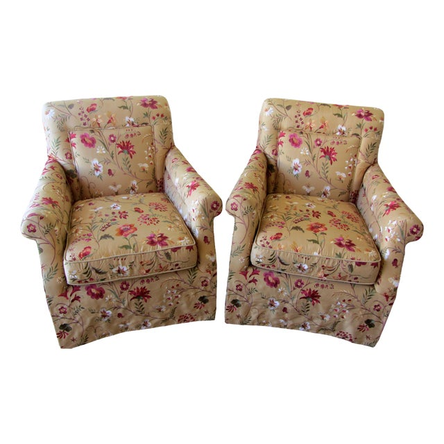 Silk Embroidered March Rocker Swivel Glider Chairs - a Pair - Image 1 of 6