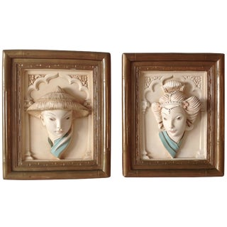 Plaster Asian-Style Wall Art - A Pair