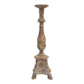 Carved Wood Altar Stick Candle Holder