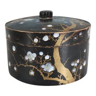 Antique Japanese Lacquer Paper Mache Round MOP Box