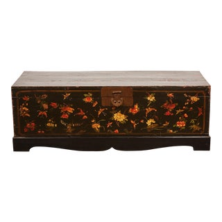 19th Century Lacquer Painted Trunk with Butterfly Motifs
