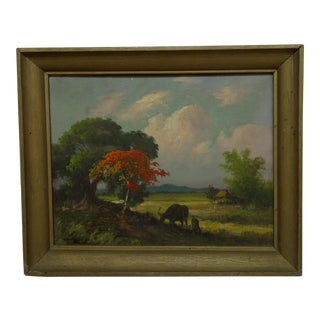 "Framed Original Painting on Board ""Vietnamese Field"" by Bhen Phentiua 1956"