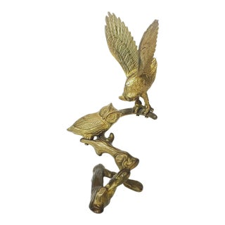Vintage Brass Owls on Branch Sculpture