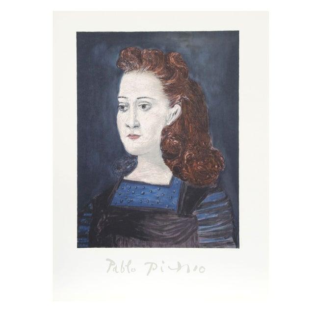Pablo picasso femme a la collerette bleue litho chairish - La chambre bleue picasso ...