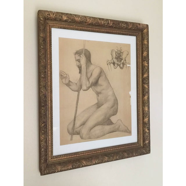 Rare Original Victorian Framed Figure Drawing - Image 2 of 7