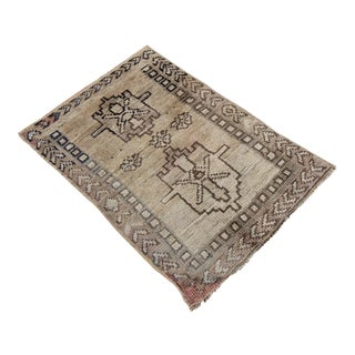 Antique Tribal Oushak Hand Knotted Turkish Rug - 1′4″ × 2′1″