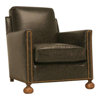 """Fully Restored Authentic Original Vintage French """"Bomber"""" Leather Club Chair"""