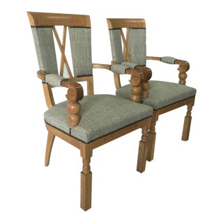 Elegant French Art Deco Pair of Natural Oak Armchairs
