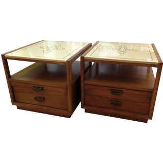 Drexel Side Tables with Ceramic Tops - A Pair