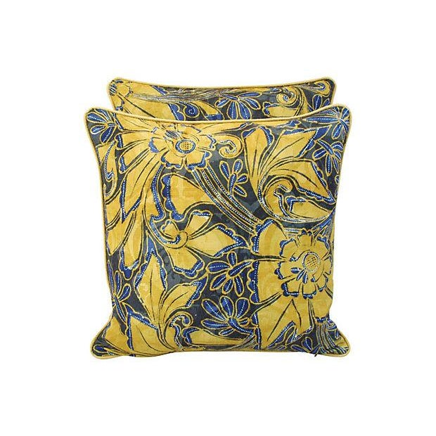 Image of Scalamandre Blue & Gold Silk Pillows - A Pair