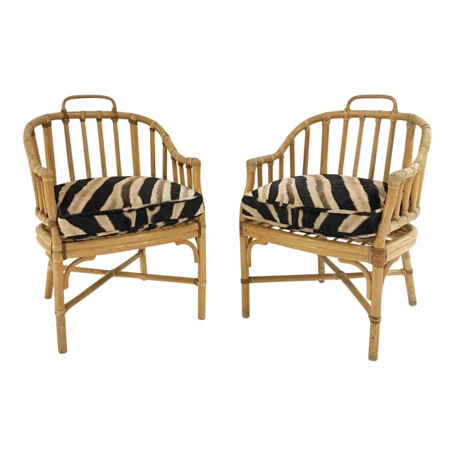 Forsyth Rattan Armchairs with Custom Zebra Hide Cushions - A Pair - Image 1 of 7