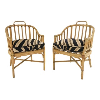 Forsyth Rattan Armchairs with Custom Zebra Hide Cushions - A Pair