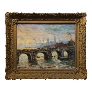 Kramer -Parisian Bridge over the River - 1930s Impressionist Oil Painting oil painting on canvas - signed frame