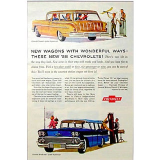 Matted 1957 Chevy Station Wagon Ad