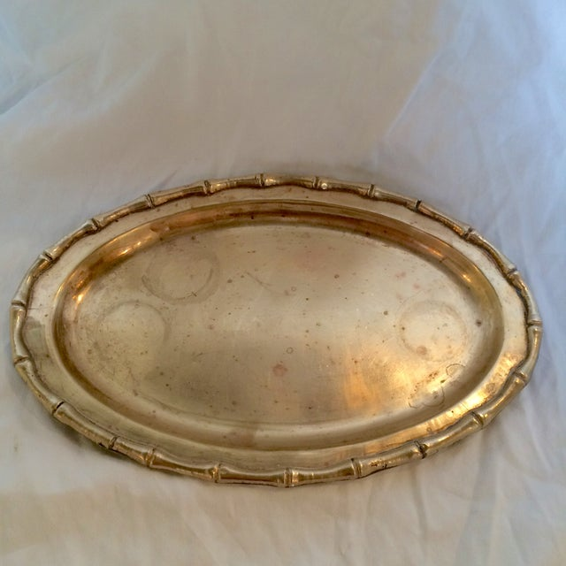 Image of Small Faux Bamboo Trim Brass Tray