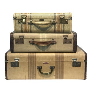 Vintage Striped Suitcases - Set of 3