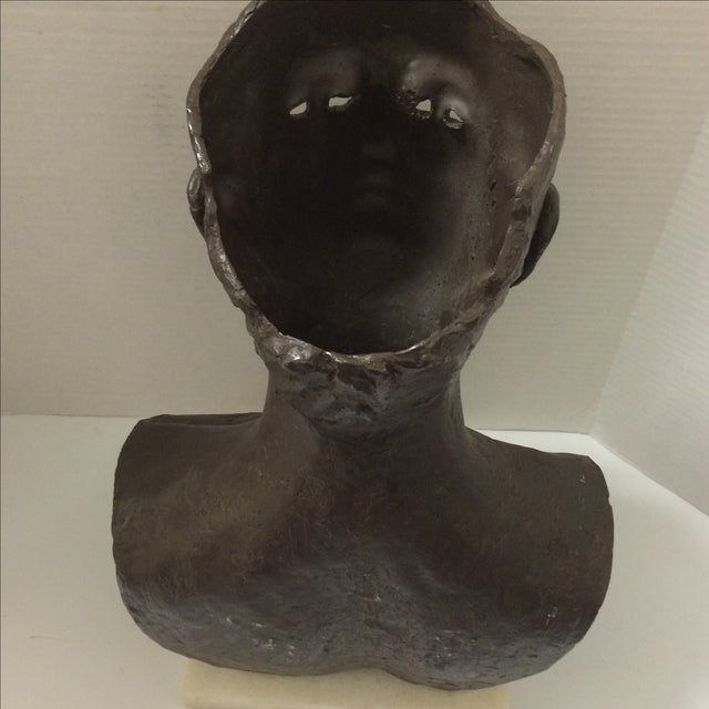 Modernist Male Bust Bronze Sculpture - Image 11 of 11