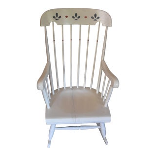 White Hand Painted Wood Rocking Chair