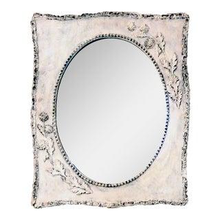 Vintage White Washed Dandelion Mirror