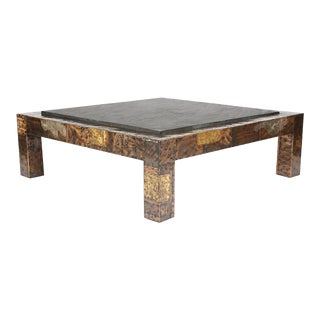 1970S PAUL EVANS SLATE-TOP PATCHWORK COFFEE TABLE