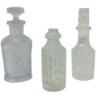 Pressed Glass Bottle Assortment - Set of 3