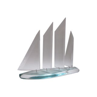 Modernist Lucite Sailboat Statue