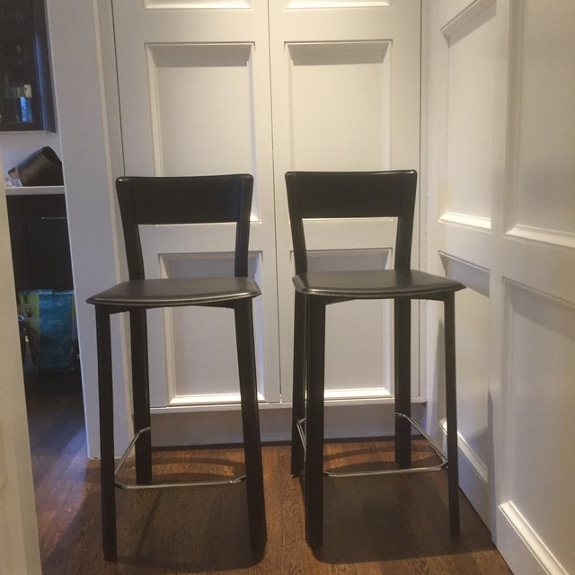 Leather Bar Stools - A Pair - Image 4 of 4