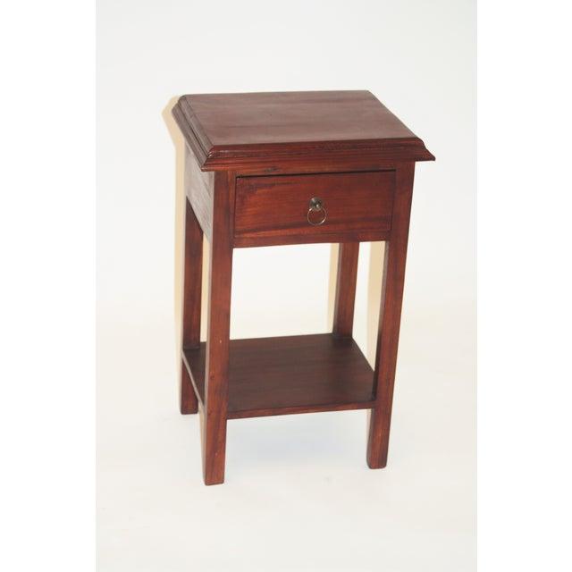 Handmade Straight Leg Teak Nightstand - Image 2 of 4