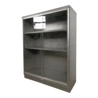 Industrial Metal Mid-Century Cabinet W/ Sliding Glass