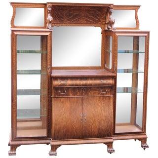Antique Oak Carved Curio Cabinet Sideboard w/ Lion's