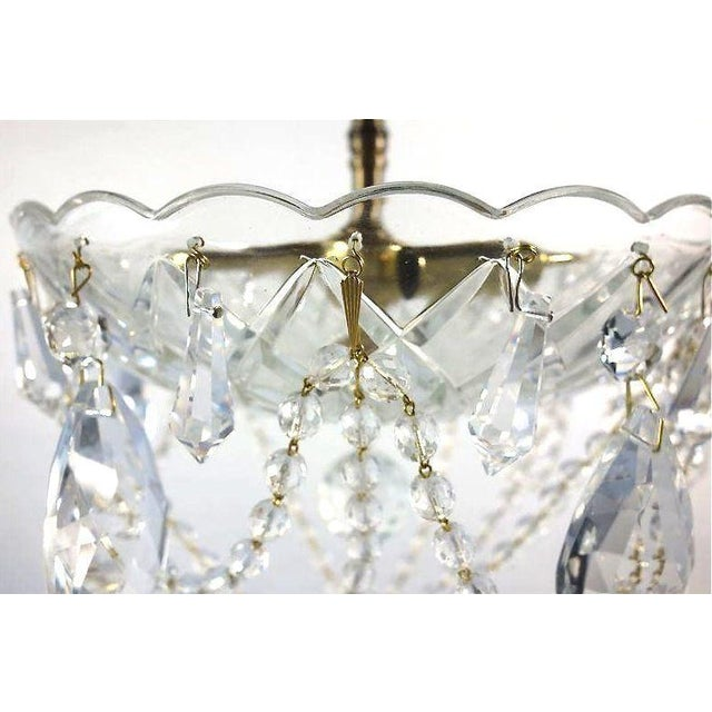 Image of Brass & Draped Crystal Ceiling Fixture