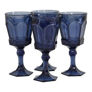 Royal Blue Stemmed Glasses - Set of 4